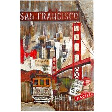 Large San Francisco Trolley Painting Print Plaque
