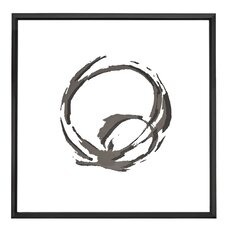Square Black and White Abstract Circle Art with Mirror Shadow Box Semi Gloss Black Frame