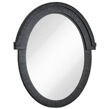 Round Black With Natural Wood Grain Oval Glass Shaped Hanging Wall Mirror