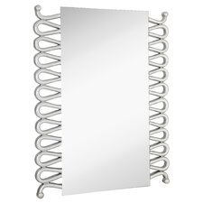 Rectangular Modern Accent Mirror with Silver Leafs Details