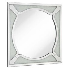 Square Wood Frame Round Beveled Mirror with Glass Beads Accent Wall Mirror