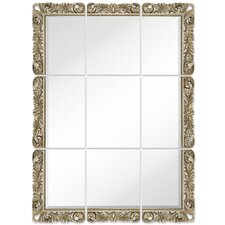 Large 9 Piece Mirror Set with Ornate Antique Silver Frame