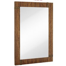 Large Rectangular Mirror with Stained Wood Frame and Brass Accents