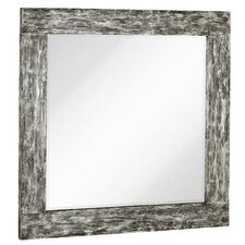 Square Mirror with Black Rubbed Silver Leaf Wood Frame