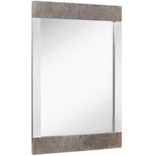 Silver Leaf with Brushed Silver Detail Rectangular Accent Mirror