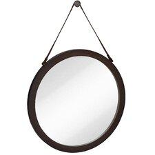Round Urban Modern Leather Strap Decorative Hanging Wall Mirror