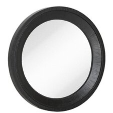 Round Black With Natural Wood Grain Circular Glass Shaped Hanging Wall Mirror