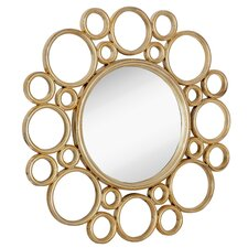 Unique Circular Polished Gold Decorative Framed Beveled Glass Wall Mirror