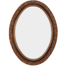 Traditional Oval Gold and Black Antique Beveled Glass Wall Mirror