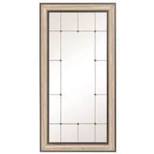 Traditional Rectangular Antique Silver and Black Wood Framed Wall Mirror