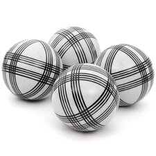 4 Piece Sophisticated Stripes Decorative Ball Sculpture Set