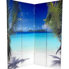 "72"" x 63"" Double Sided Ocean 4 Panel Room Divider"