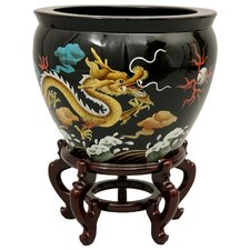 """16"""" Dragons Fish Bowl with Stand in Black Lacquer"""
