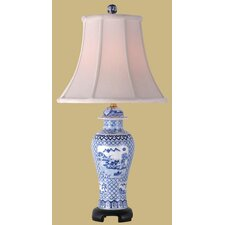 """27"""" Canton Porcelain Jar Lamp in Blue and White"""