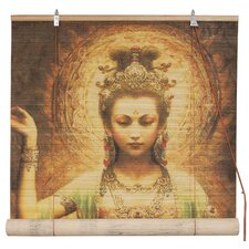 Kwan Yin with Lotus Bamboo Roller Blind