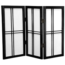 "Double Cross Shoji 26"" x 30"" 3 Panel Room Divider"