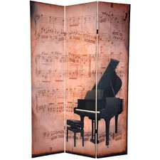 """70.88"""" x 47"""" Double Sided Piano / Phonograph Music 3 Panel Room Divider"""