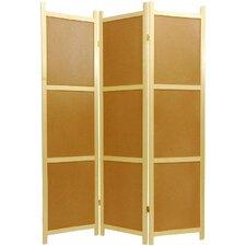 "72"" x 42"" Cork Board 3 Panel Room Divider"