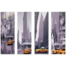 New York Taxi 4 Piece Graphic Art on Canvas Set