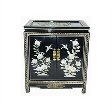 Chinese Birds and Flowers Black End Table