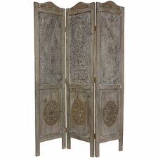 """74.5"""" x 49.5"""" Closed Mesh Antique Design 3 Panel Room Divider"""
