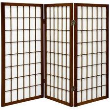 "35.75"" x 43"" Window Pane Shoji 3 Panel Room Divider"