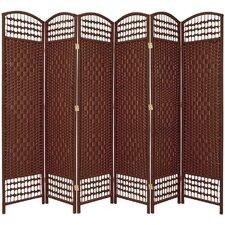 "67"" Tall Fiber Weave 6 Panel Room Divider"