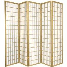 "70"" x 70"" Window Pane Shoji 5 Panel Room Divider"