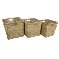 3 Piece Hand Woven Rush Grass Basket Bin Set