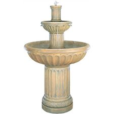 Tiered Cast Stone Fluted Waterfall Fountain