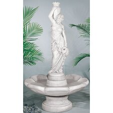 Figurine Cast Stone Rebecca at Well Petal Fountain