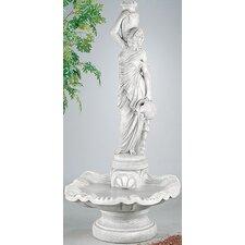 Figurine Cast Stone Rebecca at Well Shell Fountain