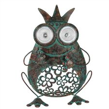 Nature's Garden Frog with Crown Solar Metal Critter Statue