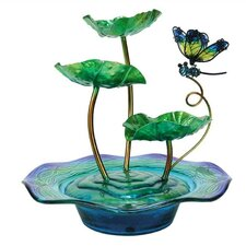 Nature's Garden Glass and Metal Dragonfly Fountain
