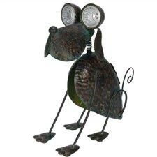 Nature's Garden Dog Solar Eyes Metal Critter Statue