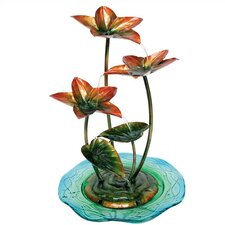 Nature's Garden Glass and Metal Red Flower Fountain