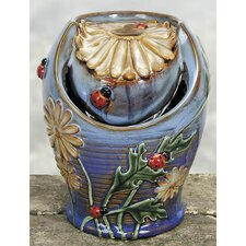 Porcelain Daisies Ladybug Water Fountain