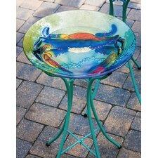 """18"""" Coastal Crab Glass Bird Bath"""