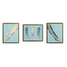 3 Piece Feathers Framed Painting Print on Canvas