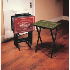 Wine Label TV Tray Set with Stand (Set of 4)