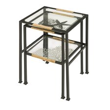 Pen and Ink Sea Shell 2 Piece Nesting Tables Set