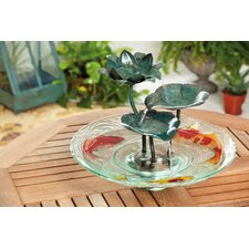 Night Garden Glass and Metal Tabletop Fountain