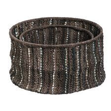 2 Piece Leather Storage Basket Set