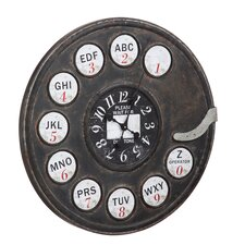 "Oversized 30.3"" Rotary Phone Metal Wall Clock"