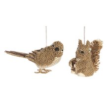 2 Piece Knit Bird and Squirrel Christmas Ornament Set