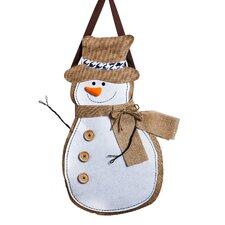 Snowman Burlap Door Decoration