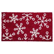 Snowflakes Flocked Coir Mat