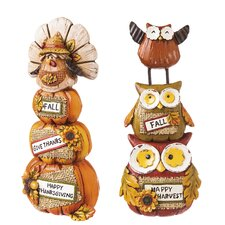 2 Piece Polystone Harvest Stacked Character Set (Set of 2)