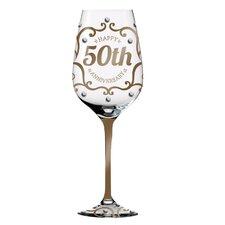 50th Anniversary Hand Painted 12 oz. Wine Glass