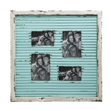 Corrugate Metal with Distressed Wood Picture Frame